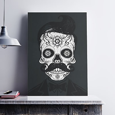 Ebern Designs 'Hipster Black and White Sugar Skull' Graphic Art Print on Cotton Canvas