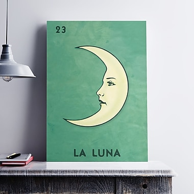 Ebern Designs 'La Luna Retro' Graphic Art Print on Paper Canvas; 19'' H x 13'' W x 0.1'' D