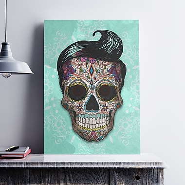 Ebern Designs 'Hipster Sugar Skull' Graphic Art Print on Cotton Canvas; 19'' H x 13'' W x 0.1'' D