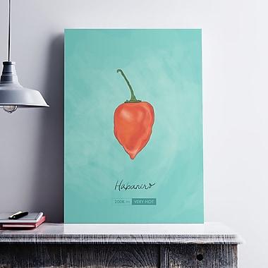 Ebern Designs 'Habanero Chili Pepper' Graphic Art Print on Cotton Canvas; 36'' H x 24'' W x 0.1'' D