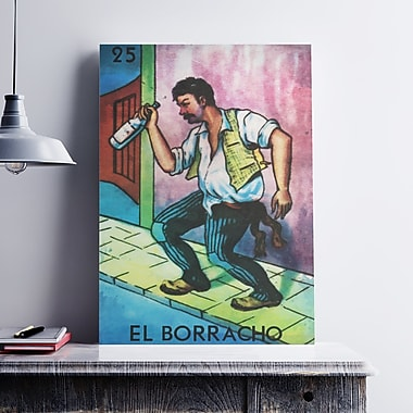 Ebern Designs 'El Borracho Drunk' Graphic Art Print on Cotton Canvas; 36'' H x 24'' W x 0.1'' D