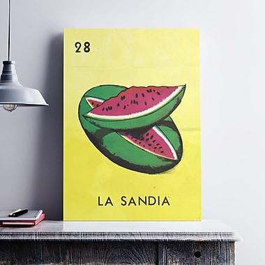 Ebern Designs 'La Sandia Watermelon' Graphic Art Print on Cotton Canvas; 24'' H x 18'' W x 0.1'' D
