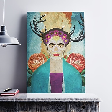 Ebern Designs 'Frida Kahlo Illustration' Graphic Art Print on Canvas; 11'' H x 8.5'' W x 0.1'' D