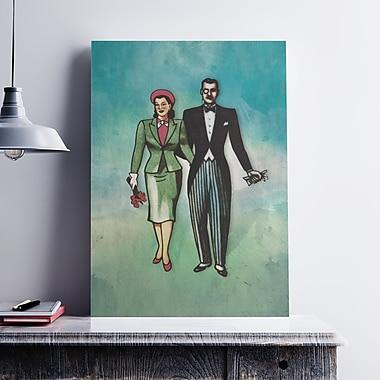 Ebern Designs 'La Dama Y El Catrin Couple' Painting Print on Paper Canvas; 7'' H x 5'' W x 0.1'' D