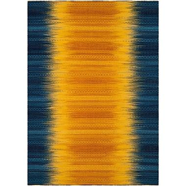 Ivy Bronx Sojourn Hand-Woven Dark Blue/Yellow Area Rug; 8' x 10'