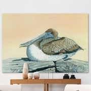 Longshore Tides 'Pelican' Painting Print on Wrapped Canvas; 16'' H x 24'' W x 1.5'' D