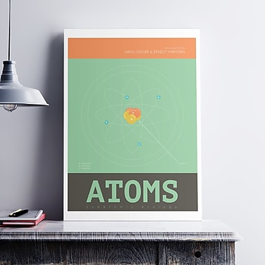 George Oliver 'Science Atoms' Graphic Art Print on Satin Canvas; 36'' H x 24'' W x 0.1'' D