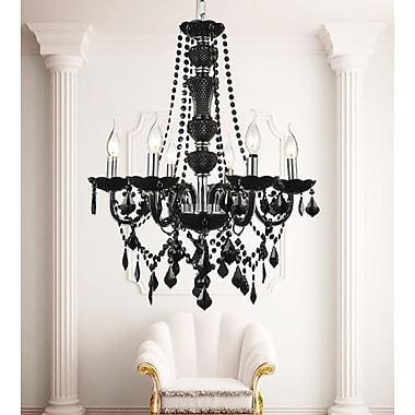 Rosdorf Park Bokara Hills 6-Light Candle-Style Chandelier; Black