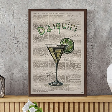 Ivy Bronx 'Daiquiri Ingredients' Framed Watercolor Painting Print; 24'' H x 16'' W x 1.5'' D