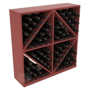Red Barrel Studio Karnes Pine Diamond Storage 96 Bottle Floor Wine Rack; Cherry Satin