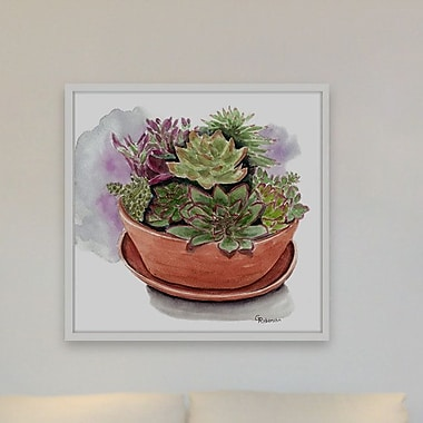 Ivy Bronx 'Succulents' Framed Painting Print; 12'' H x 12'' W x 1.5'' D