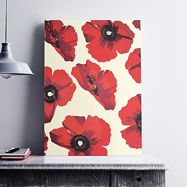 Ebern Designs 'Modern Poppies Floral' Graphic Art Print on Cotton Canvas; 24'' H x 18'' W x 0.1'' D
