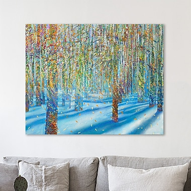 Ebern Designs 'Snow Fall' Painting Print on Wrapped Canvas; 24'' H x 30'' W x 1.5'' D