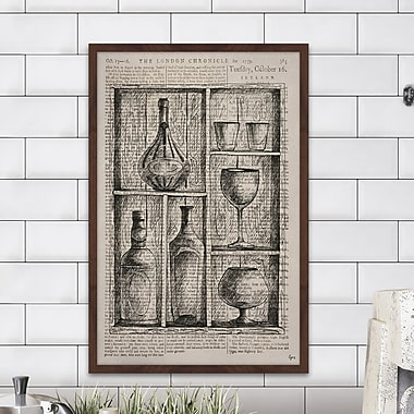 Williston Forge 'Bartenders Cupboard' Framed Drawing Print; 30'' H x 20'' W x 1.5'' D