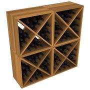 Red Barrel Studio Karnes Redwood X-Cube 96 Bottle Floor Wine Rack; Oak