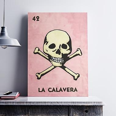 Ebern Designs 'La Calavera Skull' Graphic Art Print on Cotton Canvas; 24'' H x 18'' W x 0.1'' D