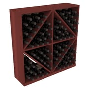 Red Barrel Studio Karnes Redwood Diamond Storage 96 Bottle Floor Wine Rack; Cherry