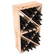 Red Barrel Studio Karnes Pine Rustic Cube 48 Bottle Floor Wine Rack; Natural