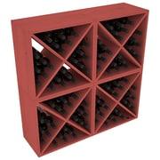 Red Barrel Studio Karnes Pine X-Cube 96 Bottle Floor Wine Rack; Cherry
