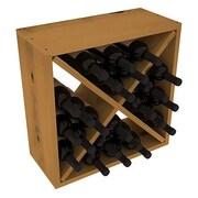 Red Barrel Studio Karnes Pine Rustic Cube 24 Bottle Tabletop Wine Rack; Oak