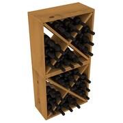 Red Barrel Studio Karnes Pine Rustic Cube 48 Bottle Floor Wine Rack; Oak