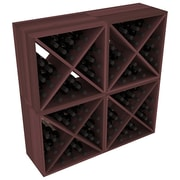 Red Barrel Studio Karnes Redwood X-Cube 96 Bottle Floor Wine Rack; Walnut