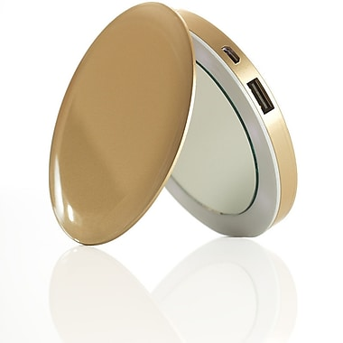 HYPER PL3000-GOLD 'Pearl' Compact Mirror + USB Battery Pack 3000mAh, Gold