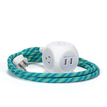 360 Electrical Habitat + USB Harmony Collection 6FT Braided Extension Cord with USB Ports, Mint Julep