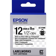 "Epson LabelWorks Clear LK Tape Cartridge -1/2"" Black on Clear"