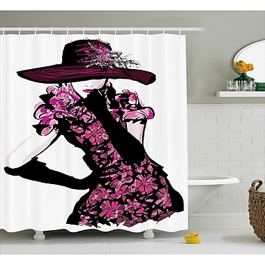 Anita Woman Furry Hat and Floral Dress Nostalgic Magazine Catwalk Look God Decor Shower Curtain