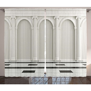 Ebern Designs Geneva Pillar Graphic Print & Text Semi-Sheer Rod Pocket Curtain Panels (Set of 2)