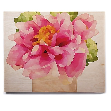 East Urban Home 'Peonies' Painting Print on Wood; 11'' H x 14'' W x 1'' D