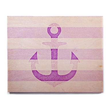 East Urban Home 'Stone Vintage Purple Anchor' Graphic Art Print on Wood; 12'' H x 12'' W x 1'' D