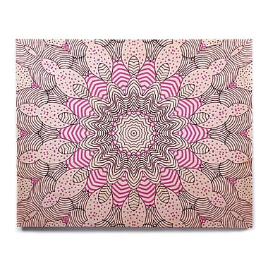East Urban Home 'Dots and Stripes Pink' Graphic Art Print on Wood; 12'' H x 12'' W x 1'' D