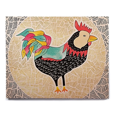 East Urban Home 'Cuckaroo Rooster' Graphic Art Print on Wood; 8'' H x 10'' W x 1'' D