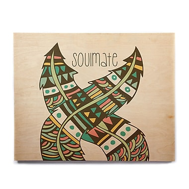 East Urban Home 'Soulmate Feathers' Graphic Art Print on Wood; 8'' H x 10'' W x 1'' D