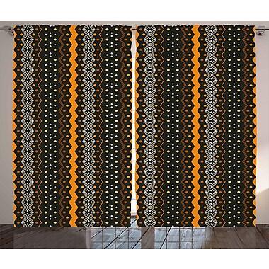 Vishnu Abstract Decor Graphic Print & Text Semi-Sheer Rod Pocket Curtain Panels (Set of 2)