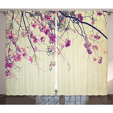 Winston Porter Lablanc Graphic Print & Text Semi-Sheer Rod Pocket Curtain Panels (Set of 2)