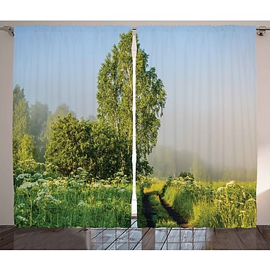 Winston Porter Rogers Graphic Print & Text Semi-Sheer Rod Pocket Curtain Panels (Set of 2)