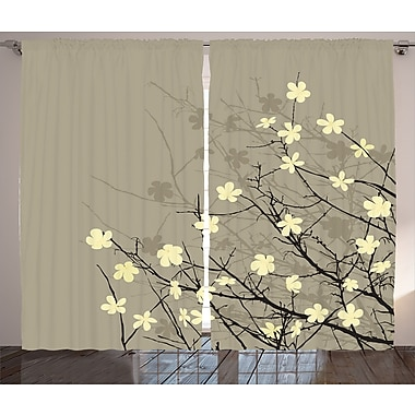 Navya Japanese Decor Graphic Print & Text Semi-Sheer Rod Pocket Curtain Panels (Set of 2)