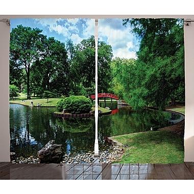 Shanaya Japanese Decor Graphic Print & Text Semi-Sheer Rod Pocket Curtain Panels (Set of 2)