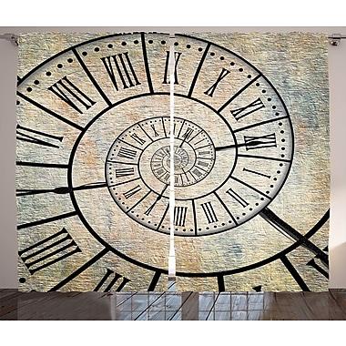 Ivy Bronx Josiah Clock Decor Graphic Print & Text Semi-Sheer Rod Pocket Curtain Panels (Set of 2)