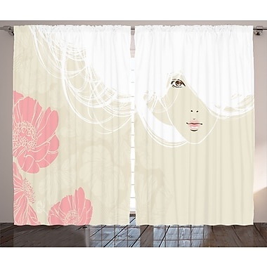 Latitude Run Larita Girly Decor Graphic Print & Text Semi-Sheer Rod Pocket Curtain Panels (Set of 2)