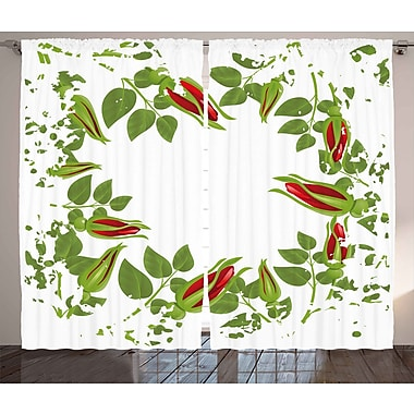Latitude Run Andria Graphic Print and Text Semi-Sheer Rod Pocket Curtain Panels (Set of 2)