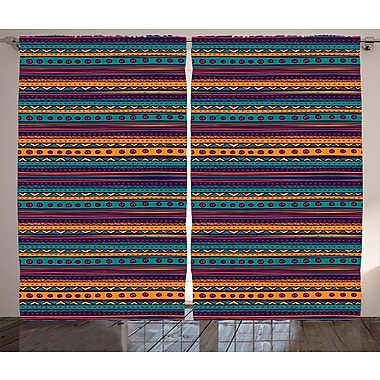 Latitude Run Eugena Tribal Graphic Print and Text Semi-Sheer Rod Pocket Curtain Panels (Set of 2)