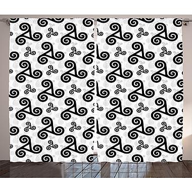 Latitude Run Keira Celtic Graphic Print and Text Semi-Sheer Rod Pocket Curtain Panels (Set of 2)