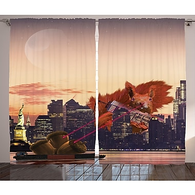 Maryanna Animal Decor Graphic Print & Text Semi-Sheer Rod Pocket Curtain Panels (Set of 2)