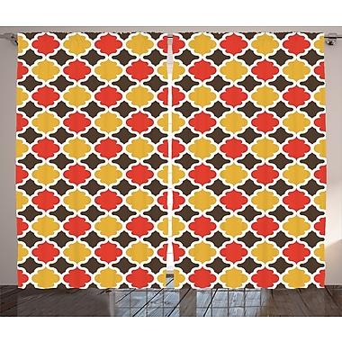 Cathi Quatrefoil Decor Graphic Print & Text Semi-Sheer Rod Pocket Curtain Panels (Set of 2)