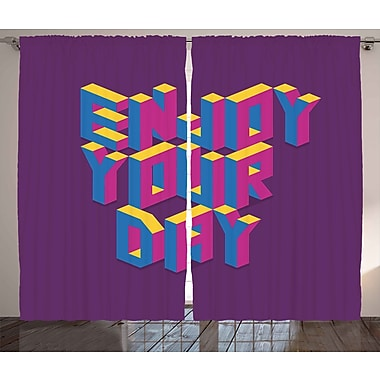 Boustrophedon Quote Graphic Print and Text Semi-Sheer Rod Pocket Curtain Panels (Set of 2)