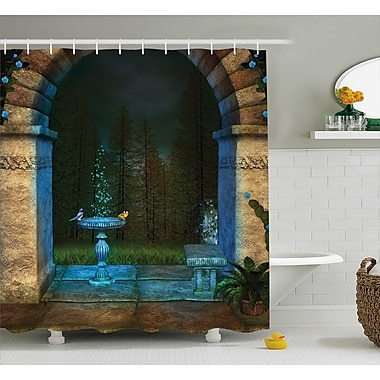 East Urban Home Forest Landscape From Ancient Archway Birds on Fountain Fairy Image Shower Curtain